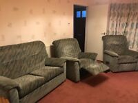 2-seater sofa and 2 recliner chairs