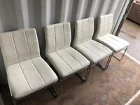 4 white leather Harvey's dining chairs