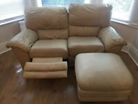 Cream Leather Recliner Sofa Plus Footrest