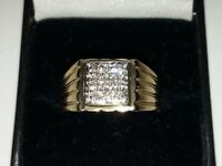 Gorgeous,9ct Yellow Gold Mens Diamond Ring, 0.12ct, Size V