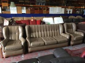 Italian leather sofa and chairs