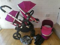 iCandy Peach 3 single / double pram with carrycot - Pink Fuchsia CAN POST