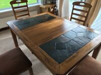 Solid oak and slate dining table 4x oak and suede leather chairs