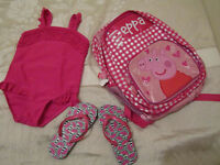 Girl's Swimming costume Age 6 Yrs, Flip Flops, New Pink Peppa Pig Backpack