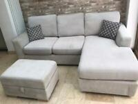 *Reduced* 4 Seater Lounger Sofa with Large Storage Footstool