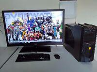"NEW GAMING 4K PC SET - 42"" QHD -VR - 5ghz x 8 -UK DELIVERY - 20 GB RAM-GTX 12 GB - SSD&SSHD-WARRANTY"