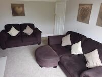 Ikea Chocolate Brown 3 and 2 seater Sofa with matching Footstool.