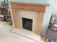 Pine fireplace surround and hearth