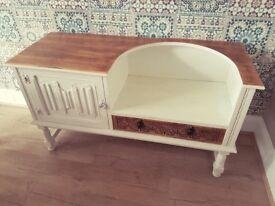 Shabby Chic Oak Telephone Seat