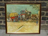 FREE DELIVERY Traditional Gypsy Scene Framed Retro Vintage Picture