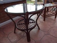 2 Wicker conservatory tables.
