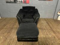 BLACK FABRIC ARMCHAIR AND FOOTSTOOL