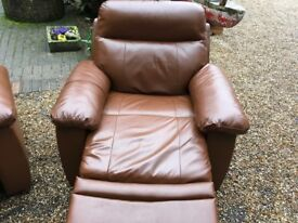 As new real leather recliner chair