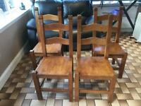 4 Solid wood dining chairs for sale