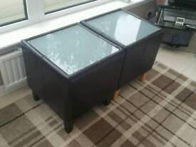 Faux Leather Chocolate Brown Side Tables