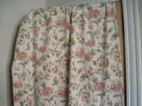 "Good quality thick cotton made to measure curtains, W92"" by D97"", floral on beige background, VGC"