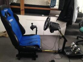 gaming chair with logitech steering wheel xbox/pc
