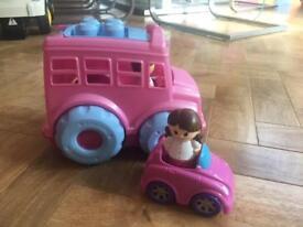 Mega Blocks bus and car.