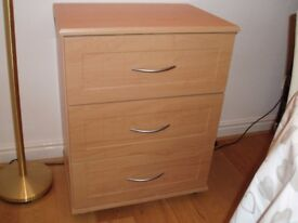 Small set of drawers beech colour (3 drawers) silver coloured handles