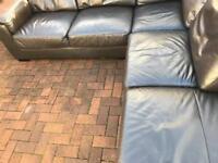 Stunning. Dark. Brown. Leather. Corner. Sofa