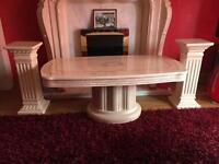 Beautiful marble effect coffee table and pillars