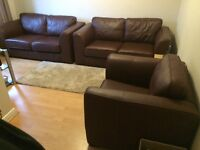 3 Piece Brown Leather Suite (Like New)