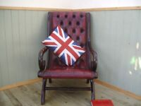 Stunning Oxblood Leather Chesterfield Slipper Chair.