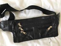 Men's leather money wallet / waist bag