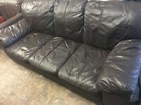LEATHER SOFA IN CHOC BROWN USED GOOD CONDITION