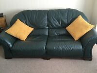 DFS Green leather three Piece Suite in very good condition inc a recliner chair