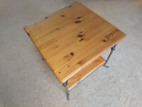 Pine and metal glass topped coffee table 56cm square 56cm high