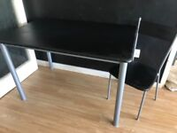 Black & silver/chrome dining table & 4 chairs
