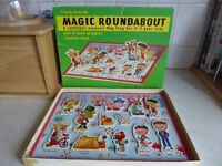 Vintage 1970s Magic Roundabout plywood Play Tray and Pop-Up book