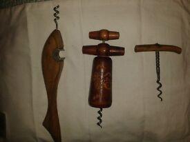 Vintage wooden corkscrews