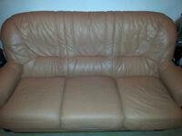THREE PIECE PEACH COLOURED LEATHER SUITE-FREE TO COLLECTOR