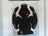 IXON 'DUCHESS' LADIES BLACK AND PINK MOTORCYCLE JACKET WITH SEPERATE LININING - SIZE 6