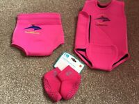 Konfidence swim baby warmer and neonappy, Mothercare swim socks - Age 3-6 months