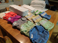 reusable nappies - 33 inners, 10 Flip bumgenius outers, paper liners