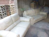 Real Leather Sofas - Cream - 3 seater & 2 seater | £200 | Collection Only