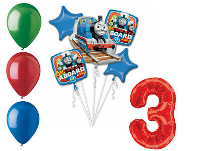 Thomas and Friends Balloon Bouquet 3rd Birthday Party Supplies Decorations Train](Thomas Balloons)