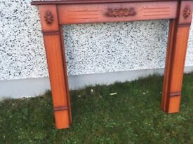 Wooden Fire surround and marble hearth also back
