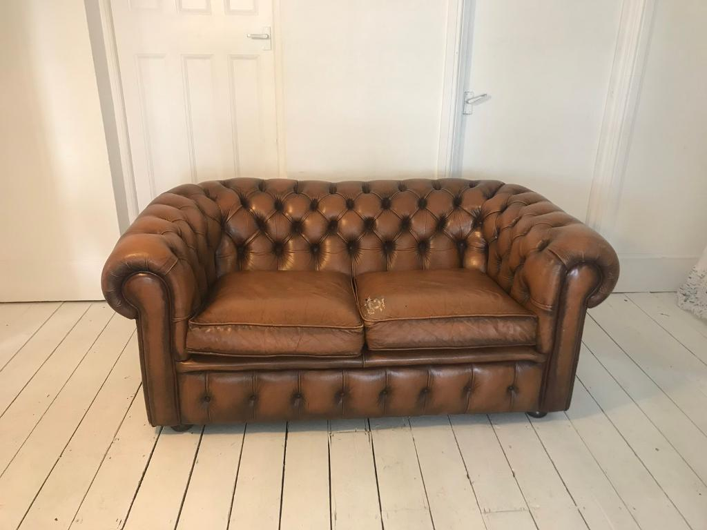 Vintage Tan Chesterfield Leather Sofa