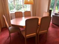 For quick sale: beautifully crafted solid limed / washed oak dining table and chairs