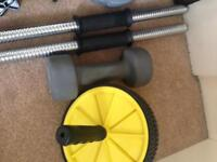 Assorted weightlifting equipments