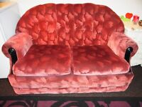 Red Velvety 2 Seater Couch