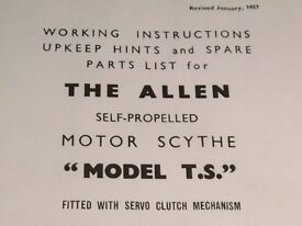Allen scythe (copy of) Original Instructions and parts list plus other two stroke info
