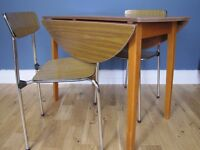 Vintage Retro Drop Leaf Formica Dining Table 2 Butterfly Back Chairs