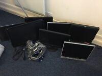 Job lot - 7 x computer monitors, mixed brand/sizes.