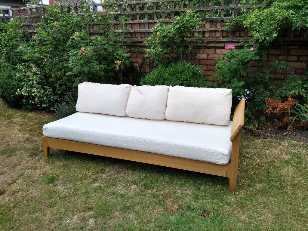Habitat Solid Oak Radius Day Bed Sofa Chaise Longue