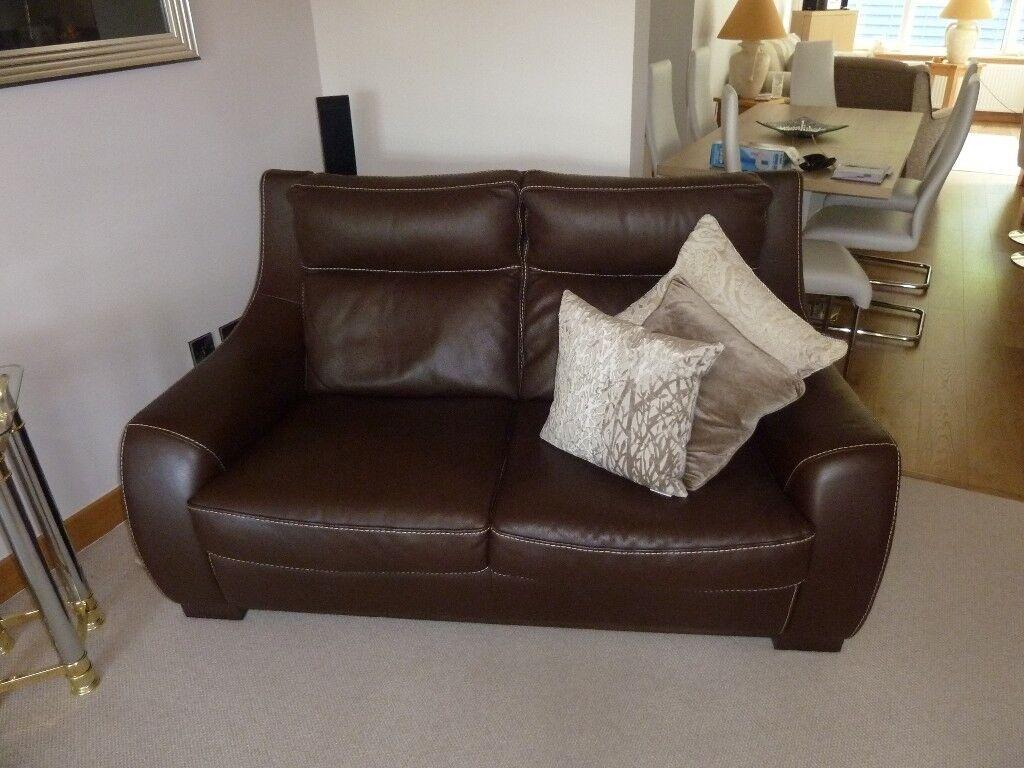 2 Dark Brown Incanto Italian Leather Sofas In Mintlaw
